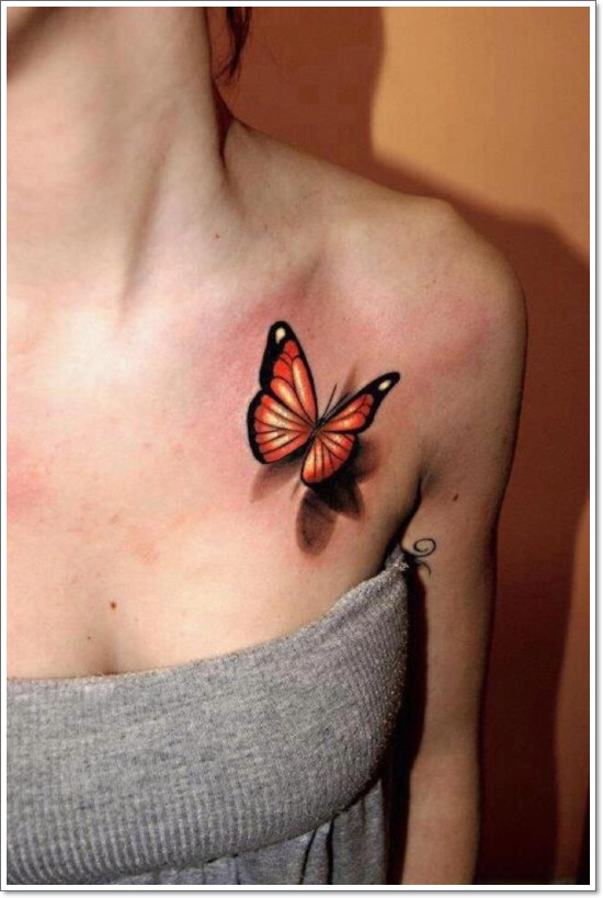 3d-Butterfly-Tattoos-on-Chest