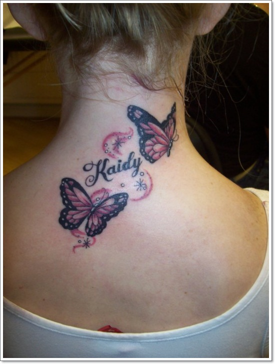 3d-butterfly-tattoo-on-neck-back-for-girls