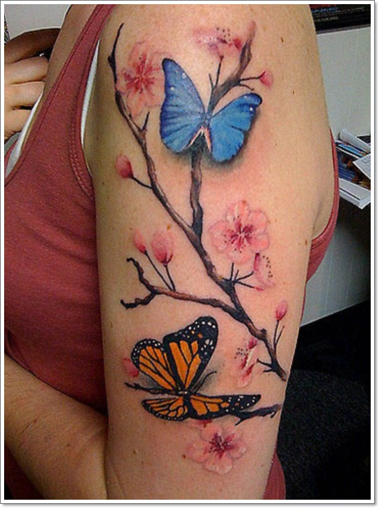 Cool ideas for making a butterfly tattoo feel more like for Blossom flower tattoo meaning