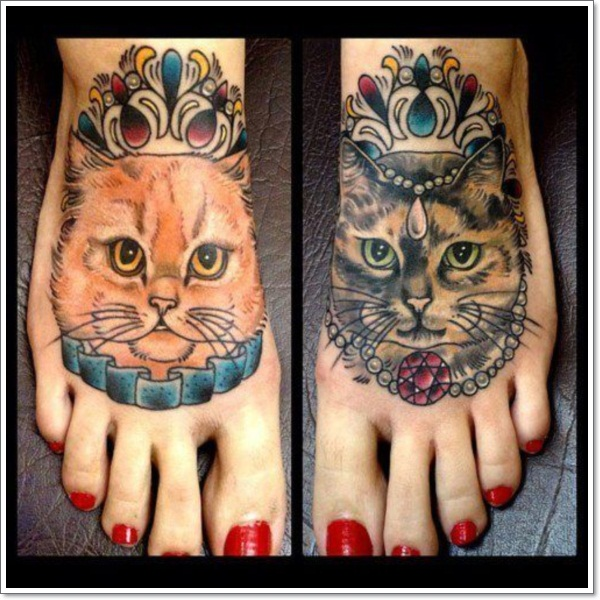 cat tattoos on foot