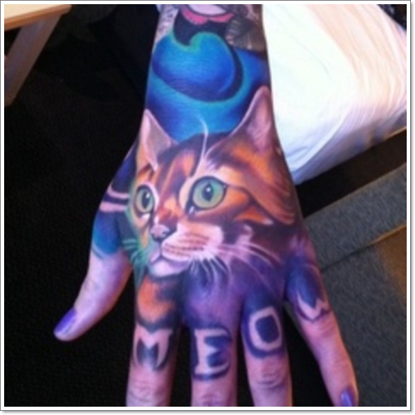 cat tattoos on hand