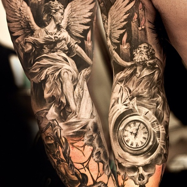 30 beautiful angel tattoos for girls for Angel tattoos on forearm