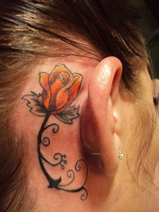 30 unique ear tattoo designs for girls for Small behind the ear tattoos for girls