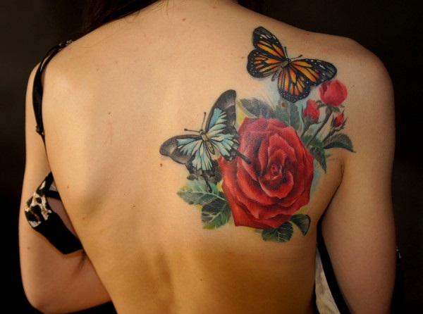 30 awesome rose tattoo designs for women. Black Bedroom Furniture Sets. Home Design Ideas