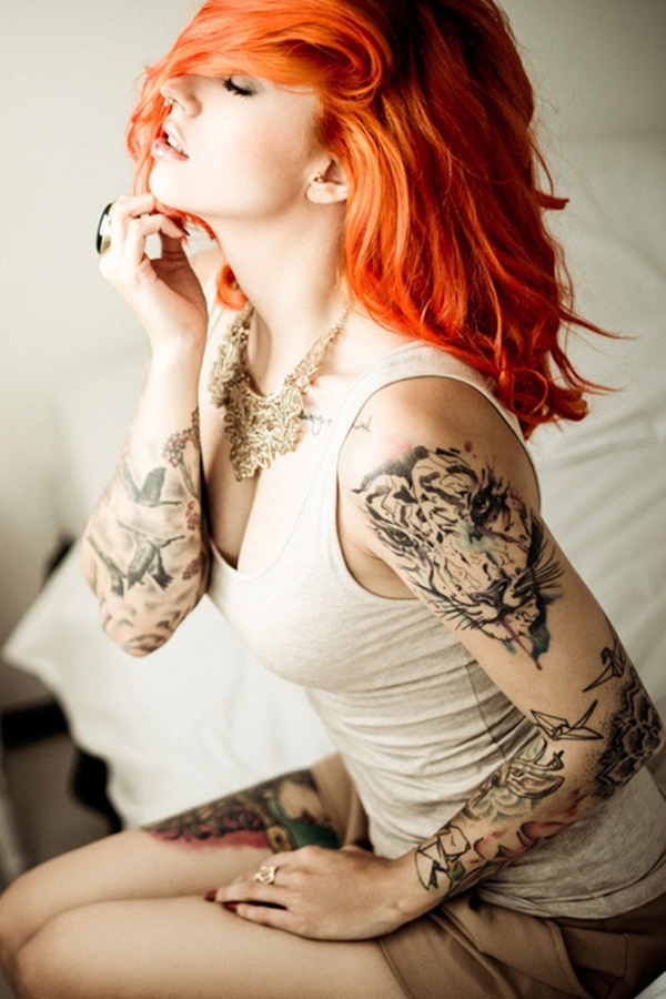 100 women 39 s arm tattoo designs that won 39 t have you up in arms for Tiger tattoos for females