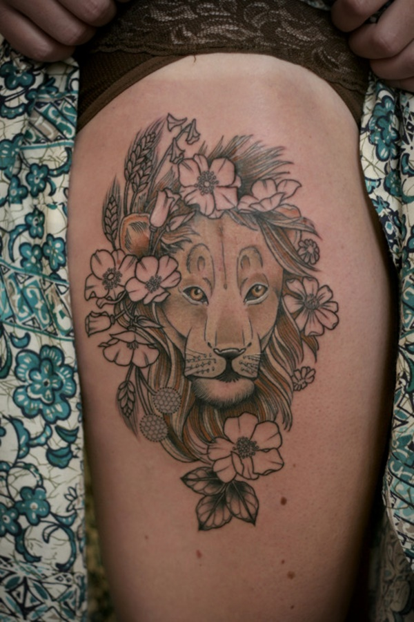 b355f63f2ae3d Beautiful Floral Art. lion tattoo ideas (85)