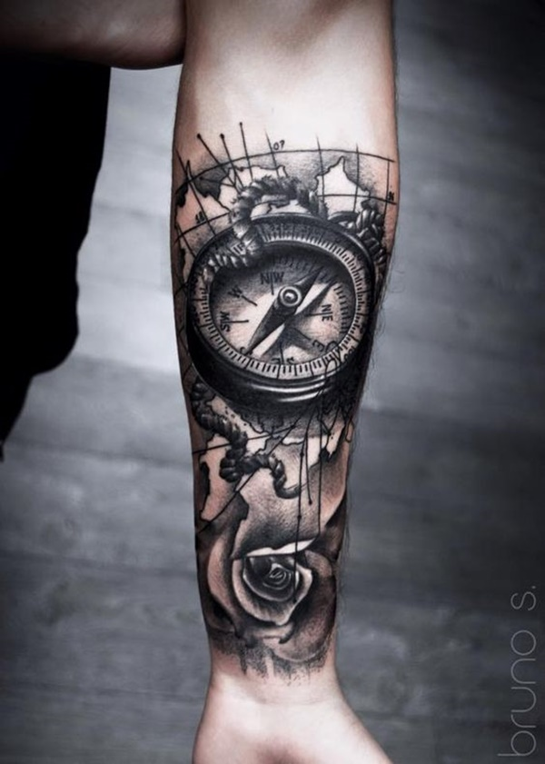 Creative map tattoos for the traveling type for Compass tattoo arm