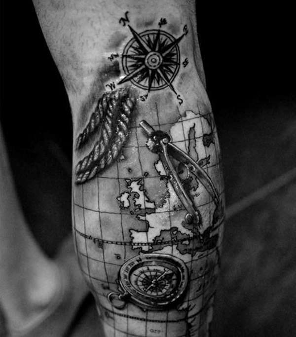 creative map tattoos for the traveling type. Black Bedroom Furniture Sets. Home Design Ideas