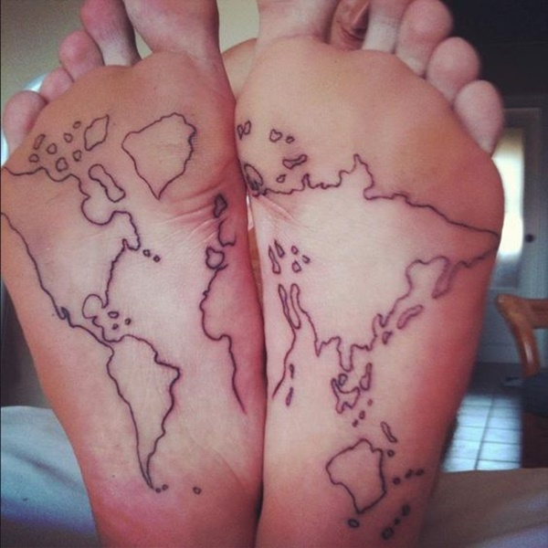 Creative map tattoos for the traveling type for Good places to get hidden tattoos