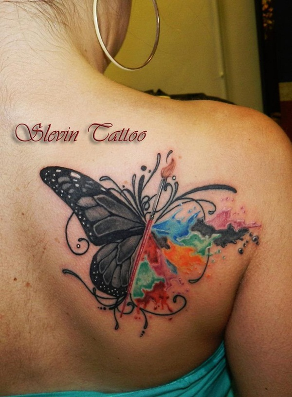 f0e4ad168 Butterfly envisioned in two ways. Artisticly Rich watercolor tattoo Designs  ...