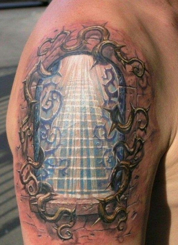 80 ways to express your faith with a religious tattoo for Stairway to heaven tattoo chest