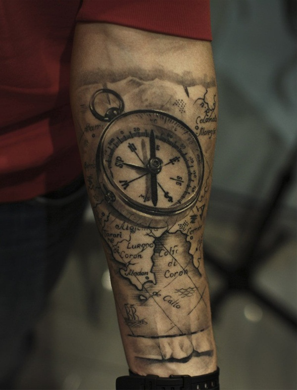 Artisticly Rich Compass Tattoo Designs (11)