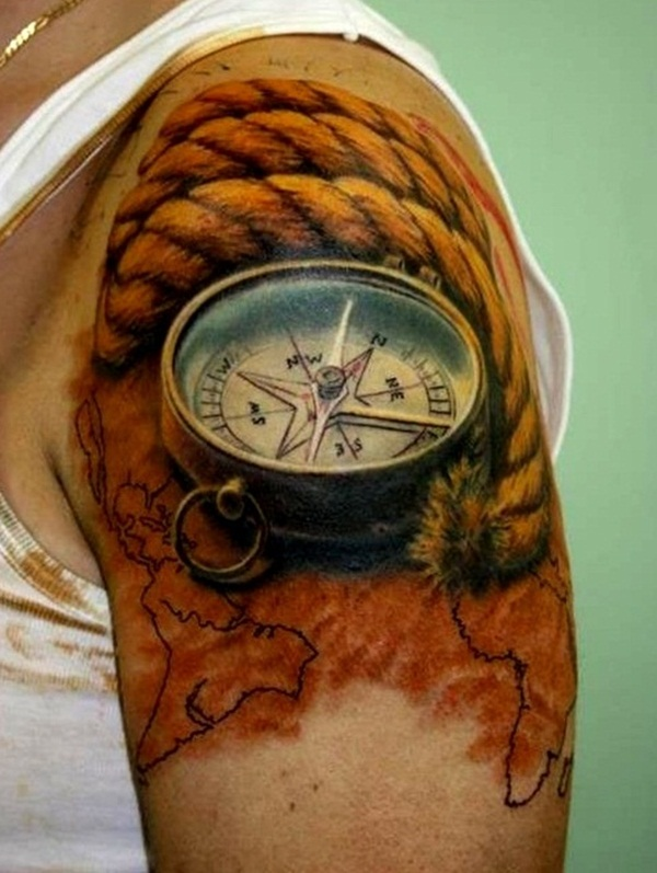 Artisticly Rich Compass Tattoo Designs (21)