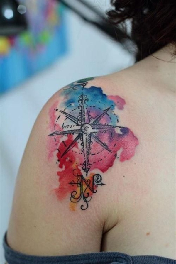 Artisticly Rich Compass Tattoo Designs (30)