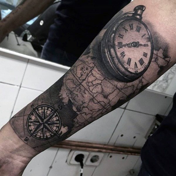 Artisticly Rich Compass Tattoo Designs (35)