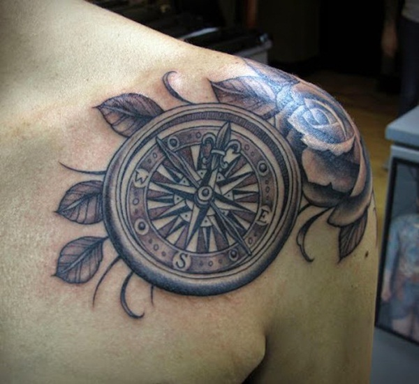 993dc601042c7 90 Artistic and Eye-Catching Compass Tattoo Designs