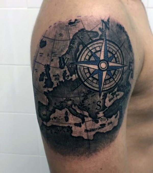 Artisticly Rich Compass Tattoo Designs (41)