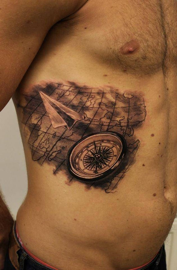 Artisticly Rich Compass Tattoo Designs (43)
