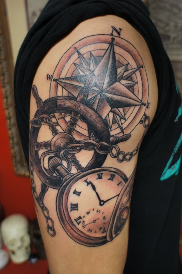 Artisticly Rich Compass Tattoo Designs (45)