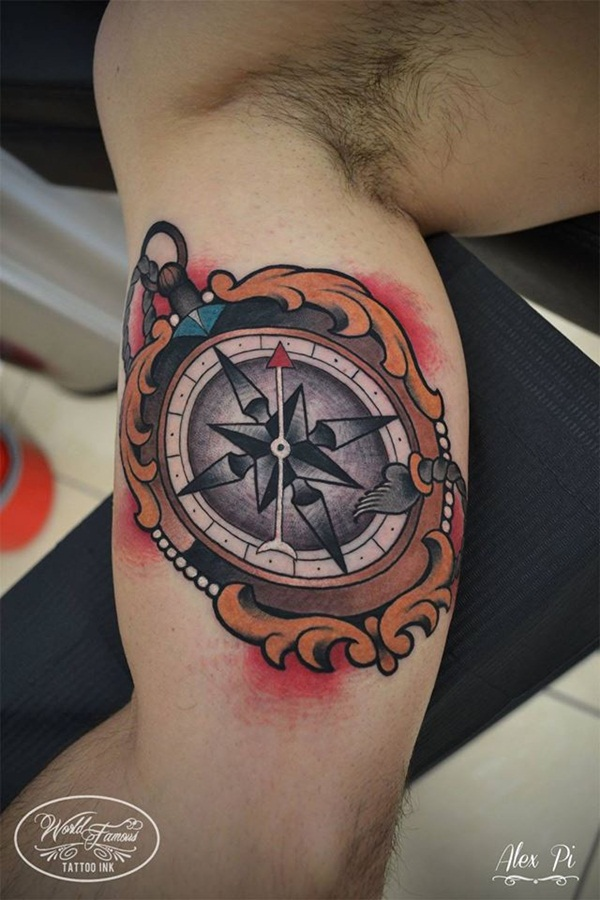 Artisticly Rich Compass Tattoo Designs (47)