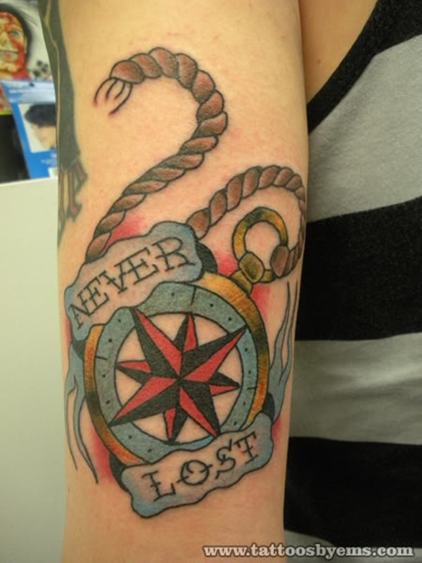 Artisticly Rich Compass Tattoo Designs (49)