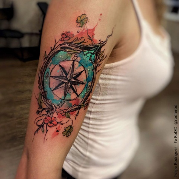 Artisticly Rich Compass Tattoo Designs (64)