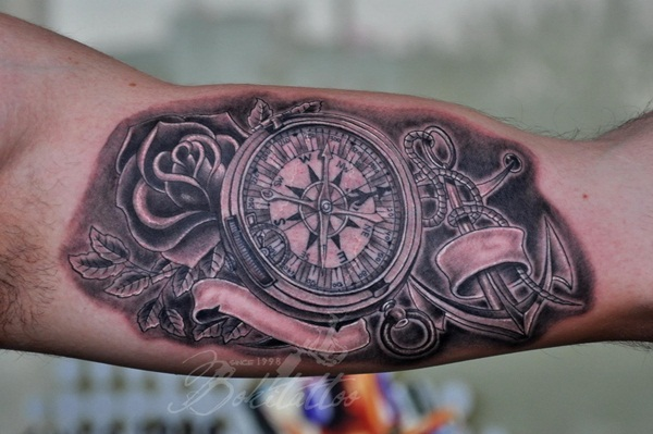 Artisticly Rich Compass Tattoo Designs (8)