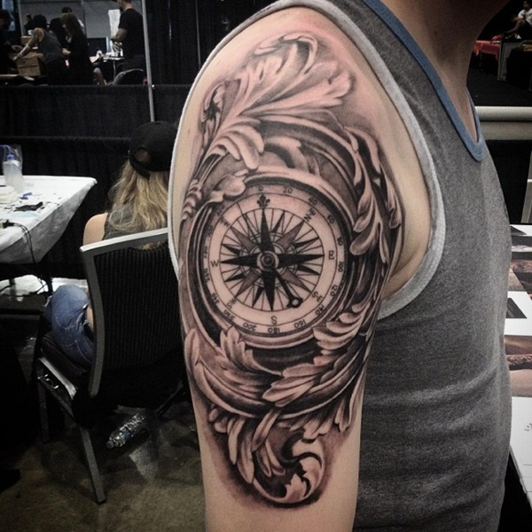 Artisticly Rich Compass Tattoo Designs (83)