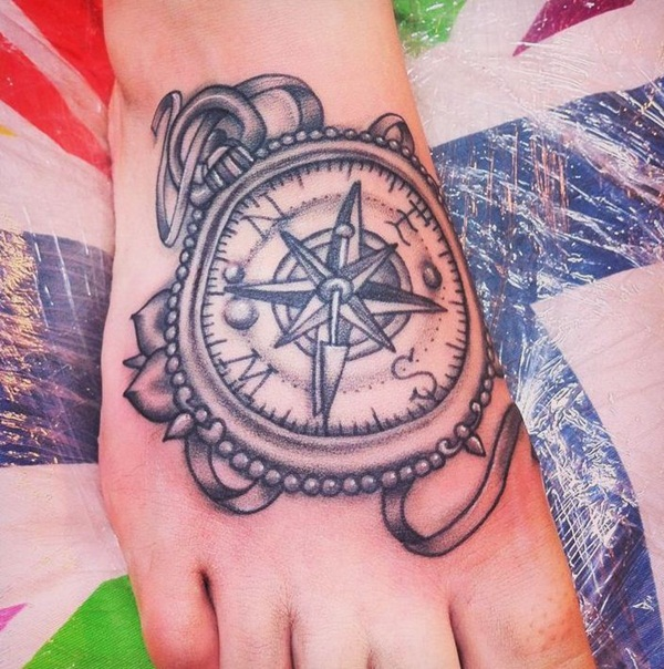 Artisticly Rich Compass Tattoo Designs (87)