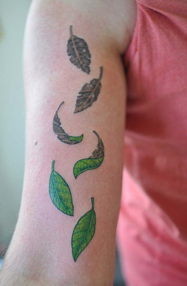Unforgettable Leaf tattoo Designs (45)